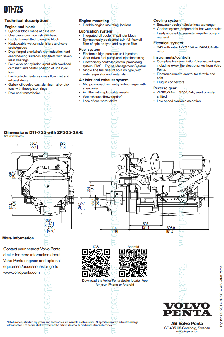 Volvo Penta D11 725 Marine Diesel Propulsion Engine By Boat Diagram Description Specifications Data Images News 6 Cylinder Turbocharged Aftercooled