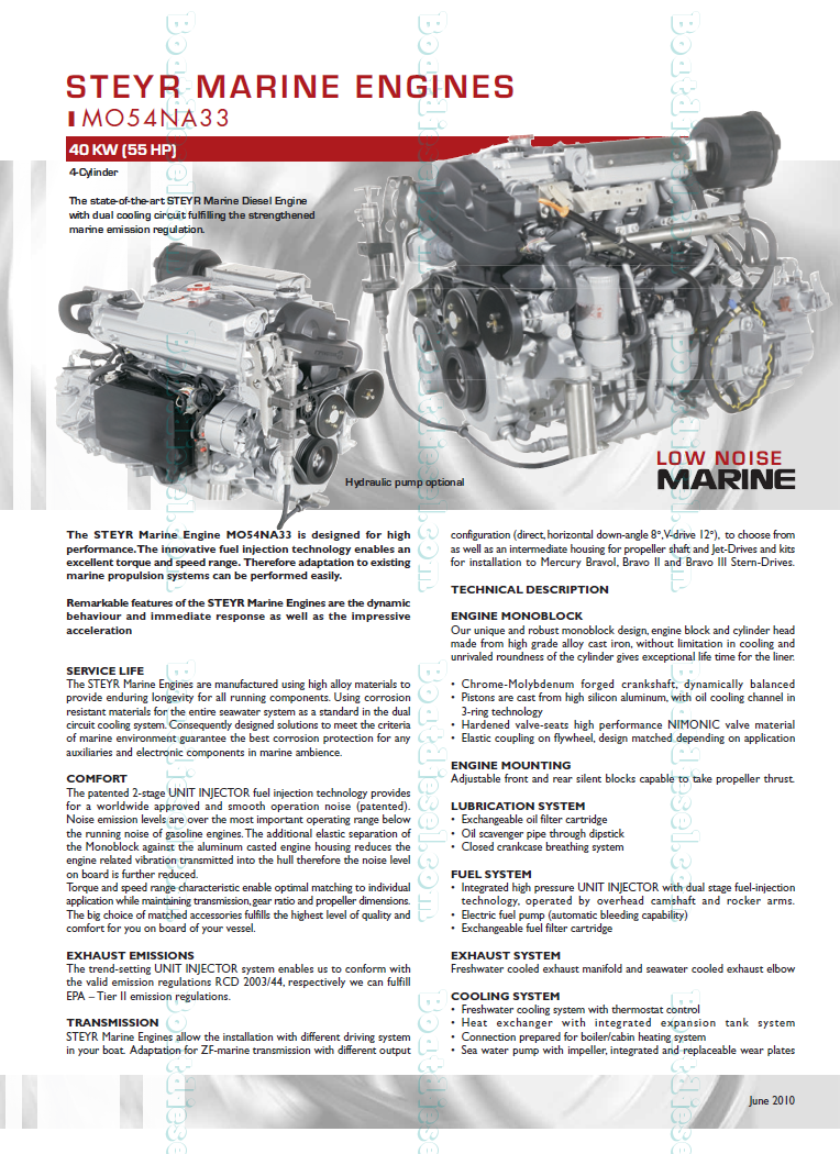 Steyr Motors Mo54na33 Marine Diesel Propulsion Engine By High Performance Fuel Filters Description Specifications Data Images Dimensions Weight