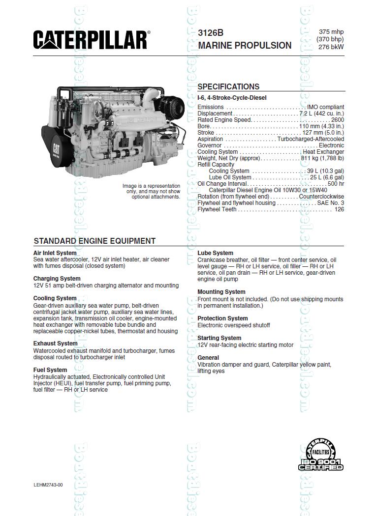 Caterpillar 3126B Marine Diesel Propulsion Engine