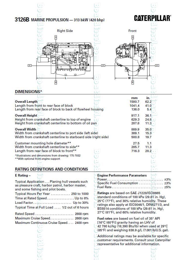 Cat 3126 Dimensions Caterpillar Diesel Engine Diagrams Specifications Performance Parameters Typical Application Rpm 764x1050
