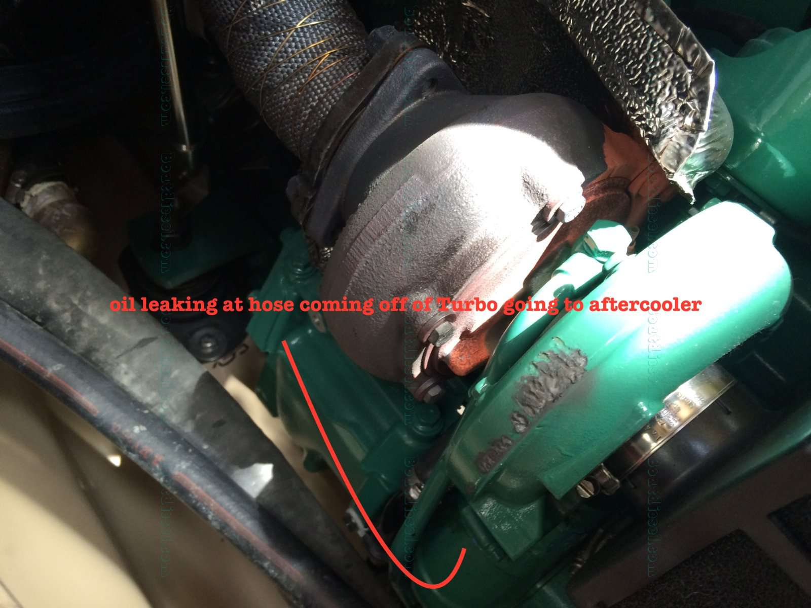 Volvo Marine - D3 Series - Oil leaking from turbo outlet to
